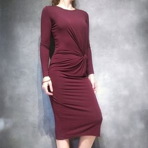 Topshop Burgundy Red Rouched Maxi Dress